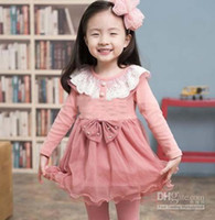 Spring / Autumn Pleated Knee-Length Wholesale - Free Shipping Autumn Baby Girls Long Sleeved- Pleated Dress Falbala Dresses Kids Long Sleeved Dress Children Clothing Girls Cut