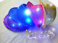 Wholesale Bran New Hot Sale Halloween Led cap led sequins Jazz cap Stage cap Hip hop dance cap