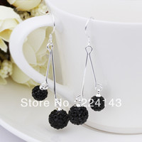 Wholesale 2013 new Crystal sterling silver ladys black balls drop earings e160 gift box bag Shamballa