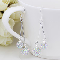 Wholesale 2013 new fashion sterling silver Male ladys girls multi color balls drop earings e169 Shamballa