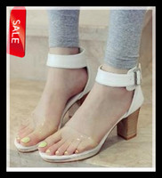 Wholesale Fashion Concise Patent PU Wood Heel Open Toe Ankle Strappy CM Chunky High Heel White Color Women s Sandal