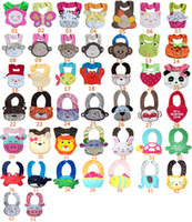 Wholesale Christmas Hot Sale New Arrival Cartoon Towel Baby Bibs layer waterproof baby Feeding Animal Button bibs