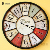 Wholesale Fake Metal Art Wall Clock Vintage Clock Wooden Clocks Wall Watch Eurpean Mediterranean Home Decorative Gifts