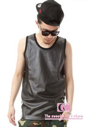 Wholesale Hot selling summer fashion sleeveless tank tops for men men s tees full PU leather t shirts personality black tops M L XL XXL