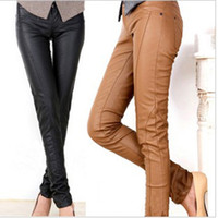 Wholesale 2013 New Women Fashion Slim Fit PU Leather Pencil Pants low waisted Trousers Brown Black