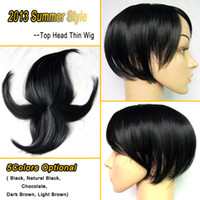 straight thin skin wig - Women Wig Top Head Skin Thin Wig Top Skin Wig Synthetic Wigs Hair Colors Optional Jet Black wig for women