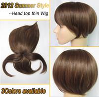 Light Brown thin skin wig - Women Wig Top Head Skin Thin Wig Top Skin Wig Synthetic Wigs Hair Colors Optional Light Brown wig for women