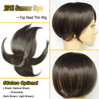 thin skin wig - Women Wig Top Head Skin Thin Wig Top Skin Wig Synthetic Wigs Hair Colors Optional Natural Black wig for women