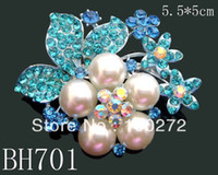 Wholesale woman crystal rhinestone alloy fresh water pearl brooch jewelry mixed color BH701