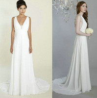 Reference Images V-Neck Backless Customized V-Neck Backless Grecian Wedding Dresses 2013 Online Chiffon A-Line Beaded Crisscross Floor-Length Designer Arya 8402