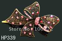Fashion Hairwear Yes wholesale Hot Sale woman Vintage Style Butterfly rhinestone alloy hair clip hair accessory free shipping 12pcs lot HP339