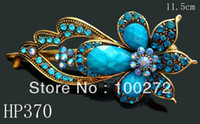 Wholesale hot sell zinc alloy rhinestone fashion flower hair clips hair accessories Mixed colors HP370