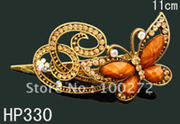 Wholesale Hot Sale woman rhinestone alloy Butterfly fashion hair clips hair accessories HP330