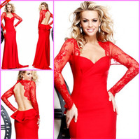 Satin Long Sleeve Sweep Train Red Lace Apllique Long Sleeves Jacket with Open Back Satin Sweetheart Trumpet Top Sexy Glamorous Evening Dresses 2014Hot Selling Prom Dress