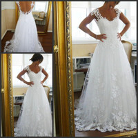 Wholesale Hot Sale New Church Wedding Gowns Charming White Ivory V Neck Backless Sweep Train Lace Applique Short Sleeves A Line Bridal Dresses