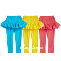 Wholesale Fashion Candy Color Skirt Leggings Child Wear Long Trousers Skinny Pants Girls Lace Tights Kids Trouser Baby Pants Childrens Skirt Leggings