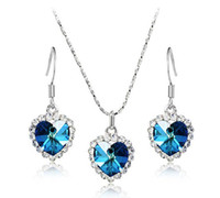 Wholesale Foreign trade of the original single elegant sweet Ocean Heart necklace earrings exquisite jewelry set S015