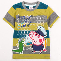 Wholesale C3962 m y Nova Kids summer wear cartoon Captain George Peppa Pig amp Dinosaur tees cotton short sleeve boys stripe t shirts quick delivery