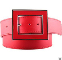 Wholesale Bright red ladies fashion belts widening PU fashionable female leisure corset belt