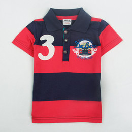 Wholesale C3869 Navy red Nova kids summer wear m y boys polo shirts cotton yarn dyed stripes short sleeve car printing shirts t shirts