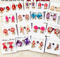 Wholesale On sale rings MixedLot many pattern Multiclor design piercing lady s Earrings Studs Ear Rings clip hoop