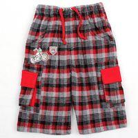 Wholesale D3782 Scots style casual Nova kids summer wear m y boys trousers motorcycle heat transfer cotton check pants plaid shorts