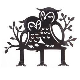 Black Metal Wrought Iron Coat Hooks Owl Hook Home Decoration Hook Creative Wall Hook Necklace Holder