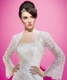 Wholesale Long Sleeve Alencon Lace Bolero Wedding Jacket Hot Fall Wedding Bridal Accessories Custom Made