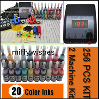 Wholesale Beginner Guns machines Tattoo starter Kit Complete with Inks sets Power Supply Needle Grips tips DH