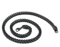 Wholesale 5mm Cool Men s Retro Black Curb Chain Top Quality L Stainless Steel Necklace New Fashion Punk Biker Jewelry Gift
