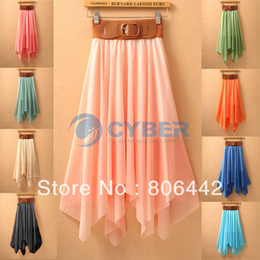Wholesale 2013 Korea Womens Sexy Asymmetrical Soft Skirt Bohemian Pleated Long Maxi Skirts Pure Color Colors Abia