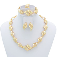 Wholesale Top Quality Dubai K Gold Silver Plated Jewelry Wedding Accessories Bride Necklace Set Fashion Jewelry A043