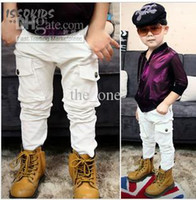 Wholesale For Australian ISSOKIDS kids wear pocket design tooling wind children casual pants white color EMS freeshipping
