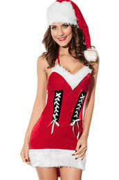 Wholesale 2013 new Sexy lingeries costume santa claus costumes female Father Christmas dresses girls outfits suits women clothes dress with hat