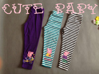 peppa pig clothing - children clothing girl peppa pig pants leggings stripes tights two color