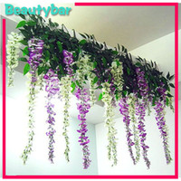 Wholesale Freeshipping Artificial wisteria flowers leaves vines simulation plants for Wedding Party Home Decoration craft DIY hanging
