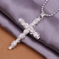 Wholesale Fashion trend high quality silver pendant Inlaid Swarovski Elements Crystal Flower vine Cross Necklace jewelry holiday gifts N359