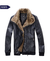 Wholesale Men s fashion pilot fur thickening cashmere leather jacket coat
