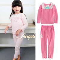 Wholesale Child Pyjamas Leisure Wear Two Piece Long Sleeve T Shirt Pants Kids Girl Underwear Childrens Sleepwear Fashion Bowknot Lace Princess Pajamas