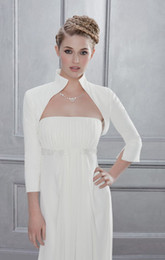 Wholesale Hot Sale High Neck Sleeve Bolero Jacket Bridal Wraps Custom Made