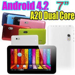 Wholesale 7 Inch A20 Dual Core Android Wifi Tablet PC A70X M RAM GB GHz Capacitive Dual Camera HDMI USB Port Skype Webcam Eken X70 Colors