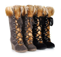 Wholesale Western Boots Wedges For Women Fur PU Black Brown Color prs S2