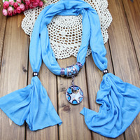 Wholesale pendant scarf jewelry with beads Mixed Design color scarves charms cross necklace WY101 p