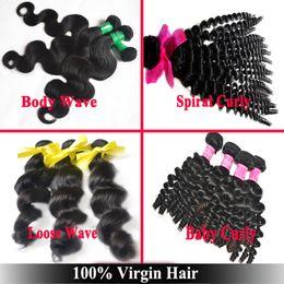 Wholesale Spiral Curls Hair Extensions - A: Genesis Virgin Hair Peruvian Indian Malaysian Brazilian Hair 3 Bunbles Mixed Length Body Wave Loose Wave Spiral Curl Hair Extensions
