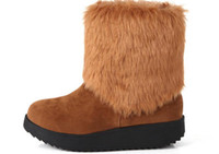 Wholesale Western Warm Boots For Women Fur Black Brown Yellow Color prs S5