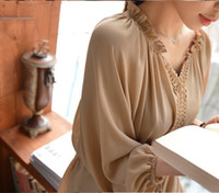 Wholesale 1029 Korean version of the new large size lantern sleeve chiffon chiffon blouse Women