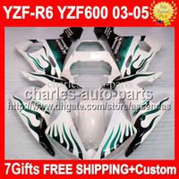 Wholesale 7Free gifts For YAMAHA Q94 YZF R6 YZF R6 Green flames white YZF600 MK278 YZFR6 YZF R6 Fairing Kit