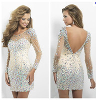 beauty discounts - Discount New arrival beauty full beaded crystal cocktail Dresses Long sleeve prom dresses short dresses