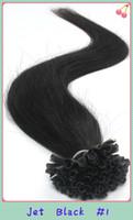 Indian Hair u tip hair extensions - Fusion Prebond Keratin Nail Hair Extension U Tip Brazilian Virgin Remy Hair quot quot quot Jet Black S pack Tangle Free