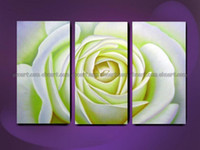 Oil Painting Unframed Yes 100% hand painted free shipping White Rose pure noble naive innocent love home wall decoration art oil paintings on canvas